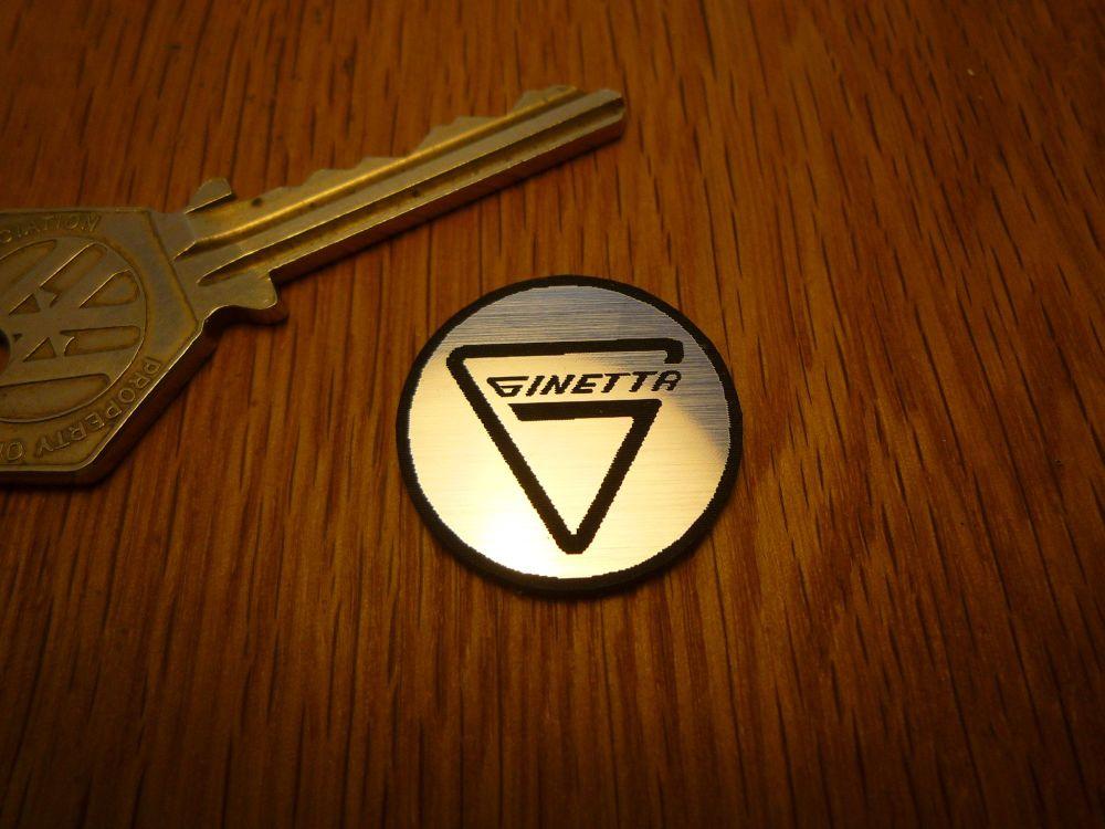 Ginetta Logo Circular Laser Cut Self Adhesive Car Badge. 25mm.