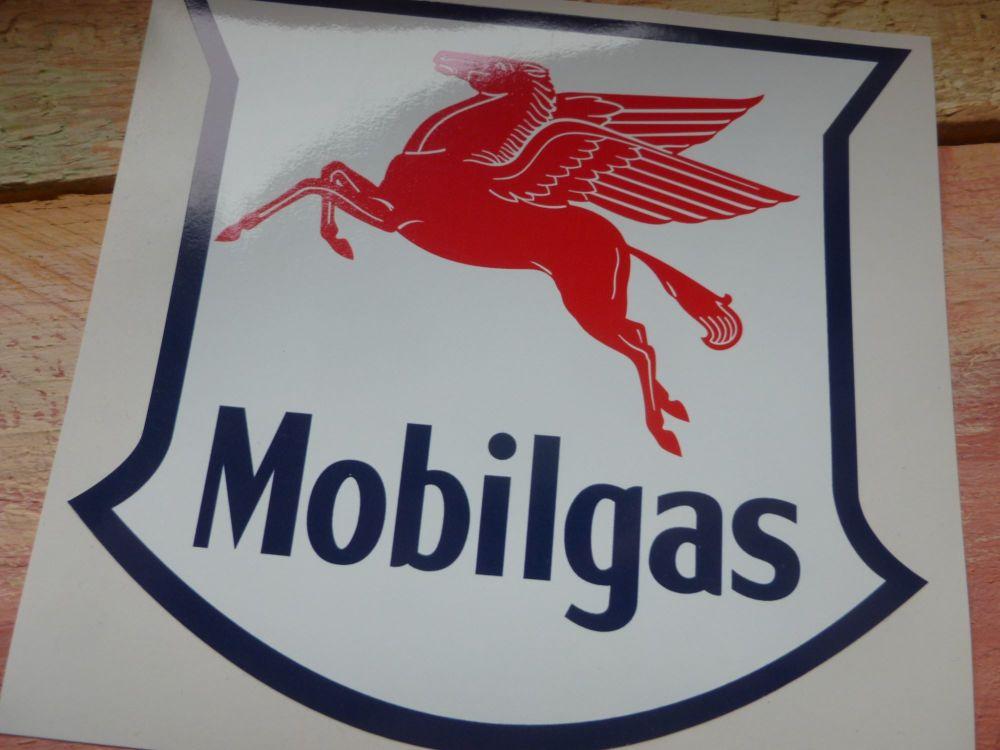 """Mobil Mobilgas Shield Stickers. 4"""" Pair."""