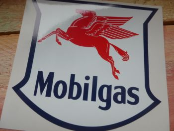 "Mobil Mobilgas Shield Stickers. 4"" Pair."