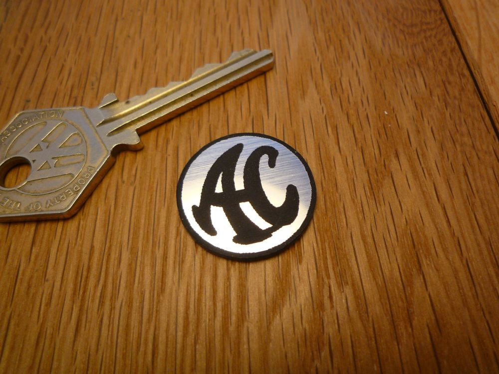 AC Cars Logo Circular Laser Cut Self Adhesive Car Badge. 25mm.