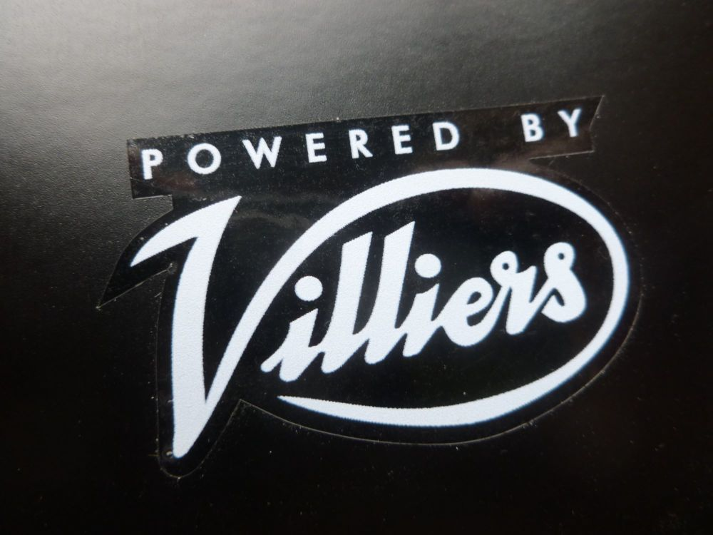 """Villiers 'Powered By Villiers' Clear Stickers. 2"""" Pair."""