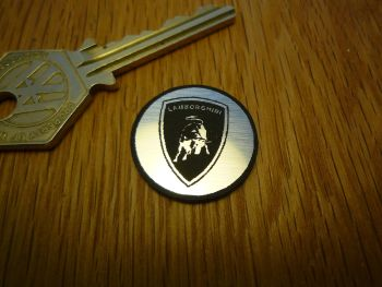 Lamborghini Logo Circular Laser Cut Self Adhesive Car Badge. 25mm.