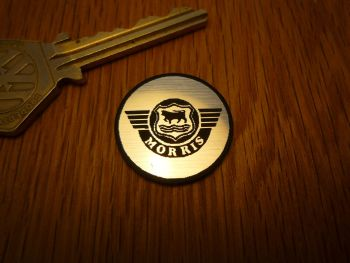 Morris Logo Circular Laser Cut Self Adhesive Car Badge. 25mm.