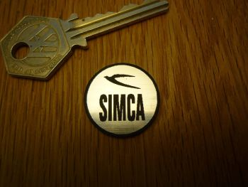 Simca Logo Circular Laser Cut Self Adhesive Car Badge. 25mm.