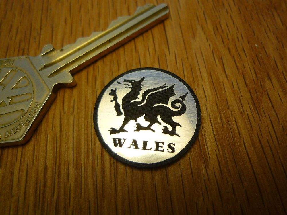 Wales Welsh Dragon Circular Laser Cut Self Adhesive Car Badge. 25mm.
