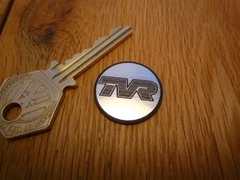 TVR Logo Circular Laser Cut Self Adhesive Car Badge. 25mm.