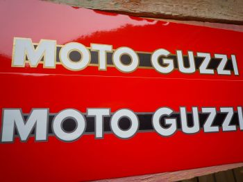 "Moto Guzzi One Piece Script Cut to Shape Metallic Stickers. 8"" Pair."