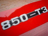 "850 -T3 Moto Guzzi One Piece Script Cut to Shape Metallic Sidepanel Stickers. 5"" Pair."