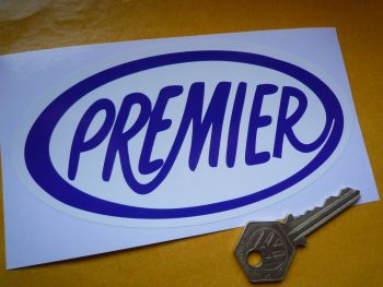 "Premier Helmets Blue & White Oval Sticker. 6""."