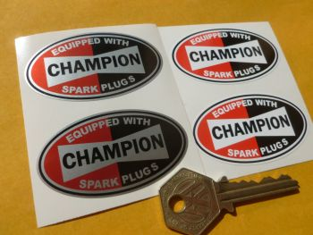 "Champion Spark Plugs 'Equipped With' Oval Stickers. 2"" Pair."