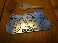 Ducati Side View Outline Style Self Adhesive Bike Badge. 3.75