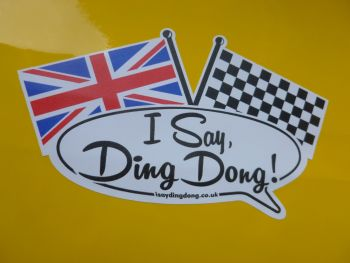 "I Say Ding Dong Crossed Flags Style Stickers. 3"", 4"", 5"", or 8"" Pair."