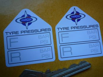 "Marcos Tyre Pressure Stickers. 1.75"" Pair."