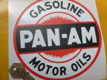 "Pan Am Gasoline Motor Oils Circular Sticker. 6""."