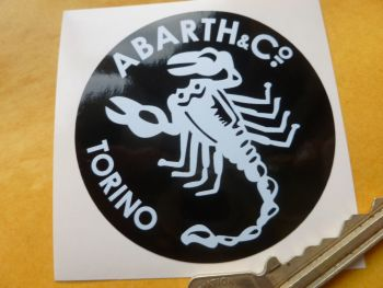 "Abarth & Co Torino White on Black Circular Sticker. 2.5""."