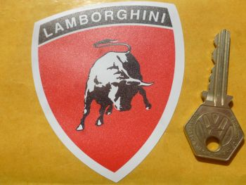 Lamborghini Red & Black Shield Shaped Tractor Car or Window Sticker. 80mm.