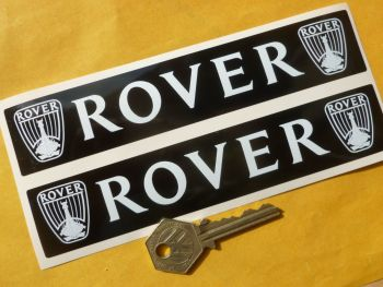 """Rover White on Black Stickers 7"""" Pair."""