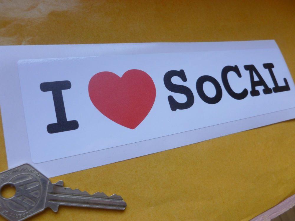 """I Love SoCAL oblong Sticker. 8""""."""