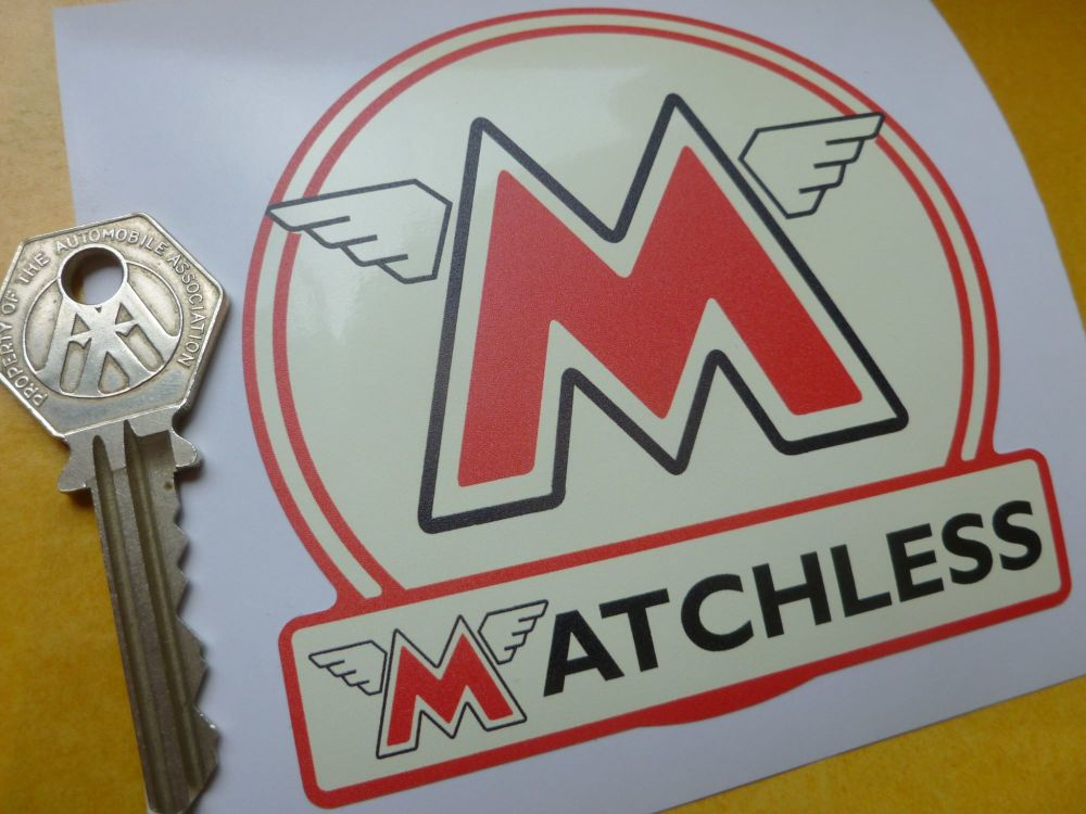 Matchless Cream Shaped Sticker. 90mm.