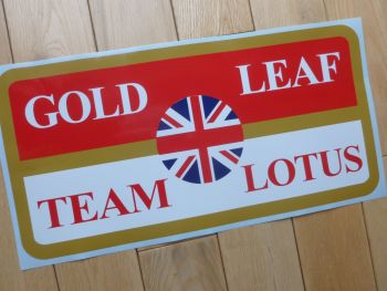 "Gold Leaf Union Jack Team Lotus Sticker. 16.25""."