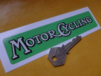 "Motor Cycling Weekly Paper Sticker. 6""."