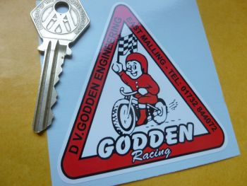 "Godden Racing Classic Triangular Sticker. Speedway Grass Track etc. 3""."