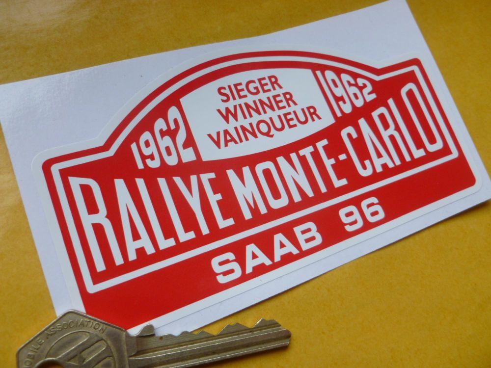 "Saab 96 Rallye Monte Carlo Rally Plate Style Car or Window Sicker. 1962 or 1963. 5""."