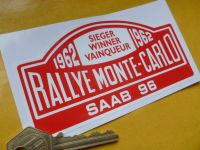"Saab 96 Rallye Monte Carlo Rally Plate Style Car or Window Sicker. 1962 or 1963. 5""."