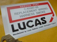 "Lucas Replacement Wiring Harness Smoke Sticker. 4.5""."