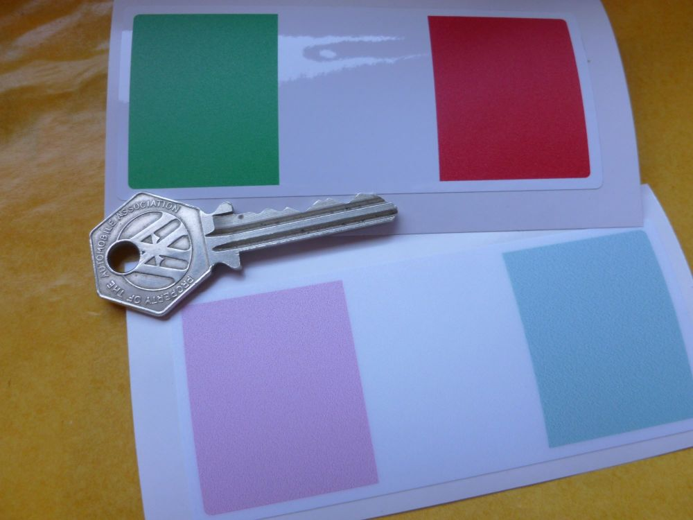 "Italian Flag Simple Oblong Sticky Backed or Window Sticker. 4""."