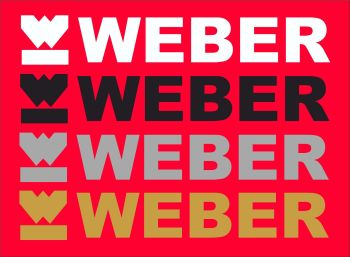 "Weber Cut vinyl logo and text Stickers. 10"" Pair."