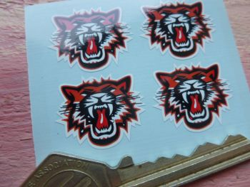 Growling Tiger Face Stickers. 25mm. Set of 4.