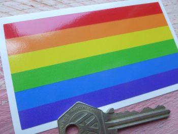 "Gay Pride LGBT Rainbow Flag Oblong Sticker. 4""."