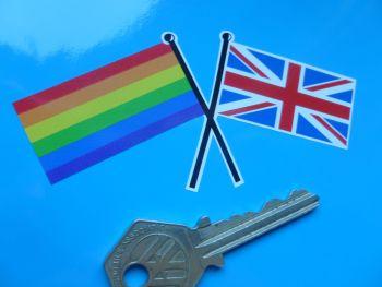 "Union Jack & Gay LGBT Pride Rainbow Crossed Straight Flags Sticker. 4""."