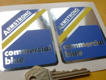Armstrong Commercial Blue 60's & 70's Shock Absorber Stickers. 75mm Pair.