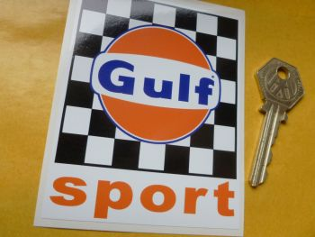 "Gulf Sport Chequered Stickers. 3"" Pair."