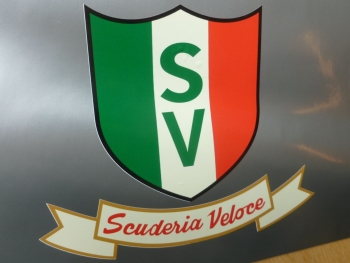 "Scuderia Veloce Shield and Scroll Style Sticker - 3"" or 6"""