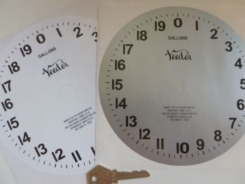 "Veeder Petrol Gas Pump Gallons Circular Clock Face Sticker. 6.75""."