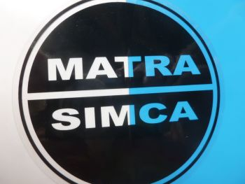 "Matra-Simca Black & Clear or Black & Silver Circular Stickers. 3.5"" Pair."