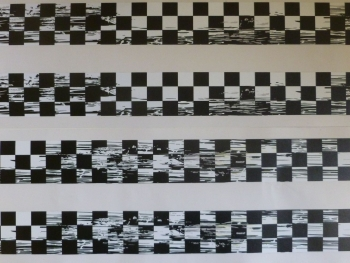 "Distressed Style Chequered Tape Checkered Check Black & White Decal. 48""."