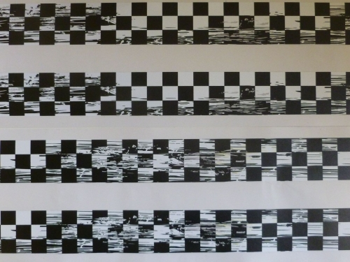 Distressed Chequered Tape Checkered Check Black & White Decal. 48