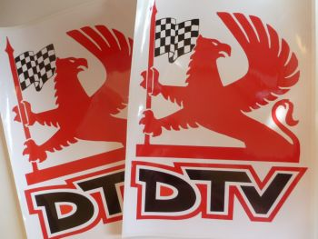 "Vauxhall Dealer Team DTV Griffin Logo Stickers. 16"" Pair."