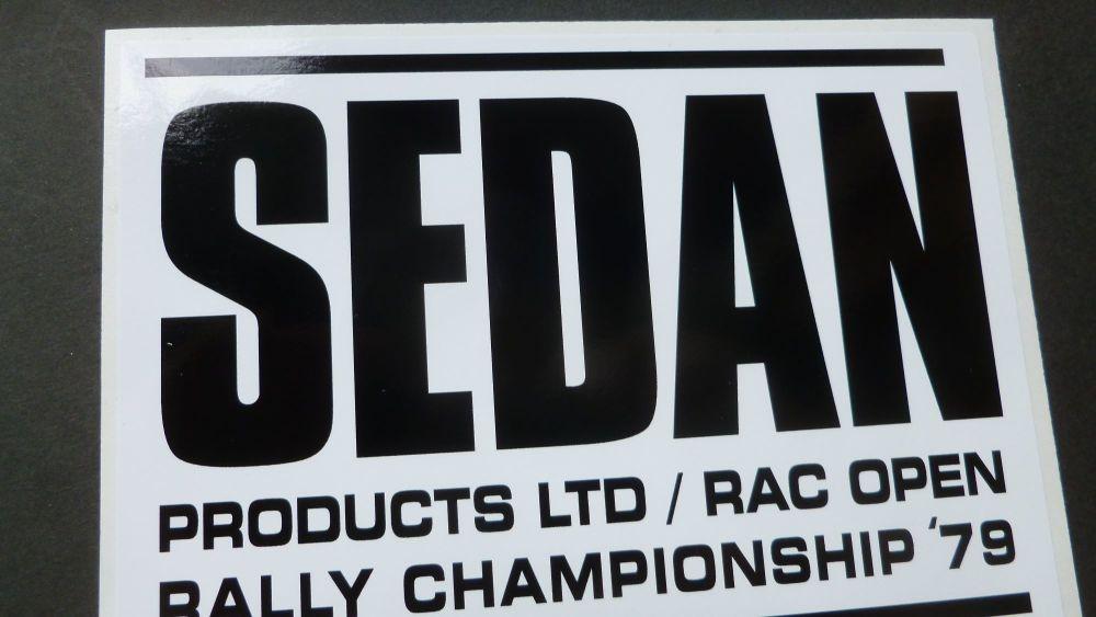 "Sedan RAC Rally Black & White Oblong Sticker. 6""."