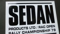 Sedan RAC Rally Black & White Oblong Sticker. 6