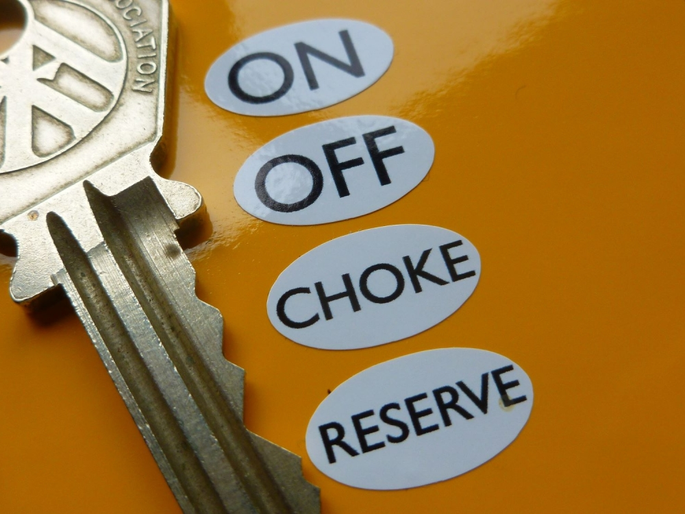 On. Off. Choke. Reserve. Fuel Tap Settings Identifying Stickers. Set of 4.