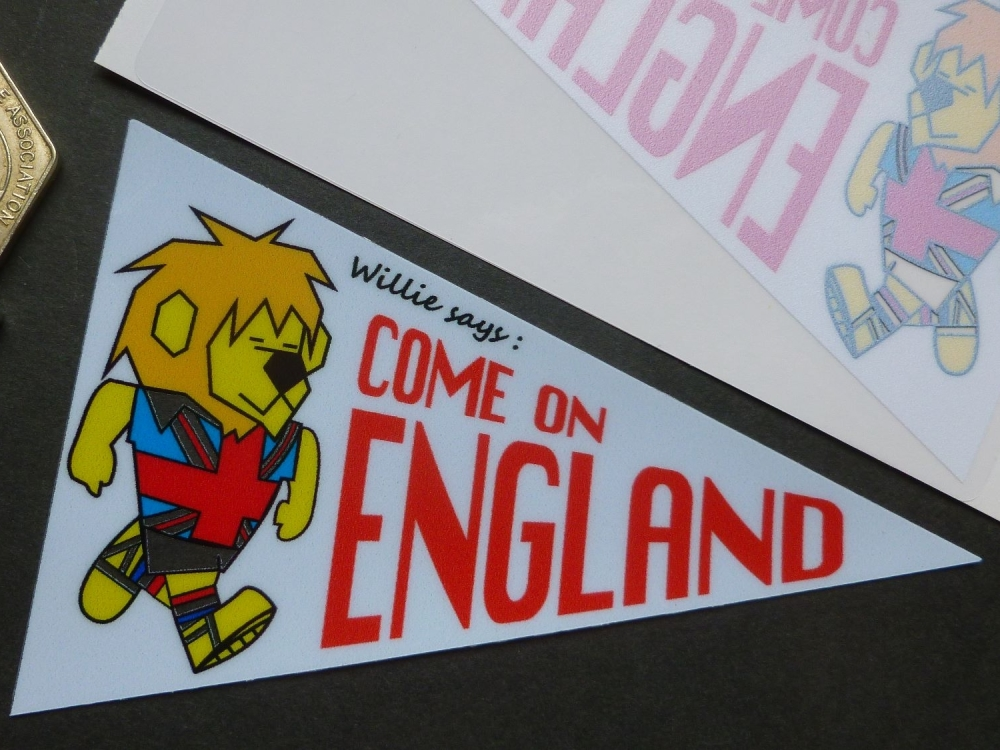 "World Cup Willie Come on England' Pennant Shaped 60's Style Football Sticker. 4""."