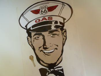 "Route 66 Gas Man Attendant Sticker. 16""."