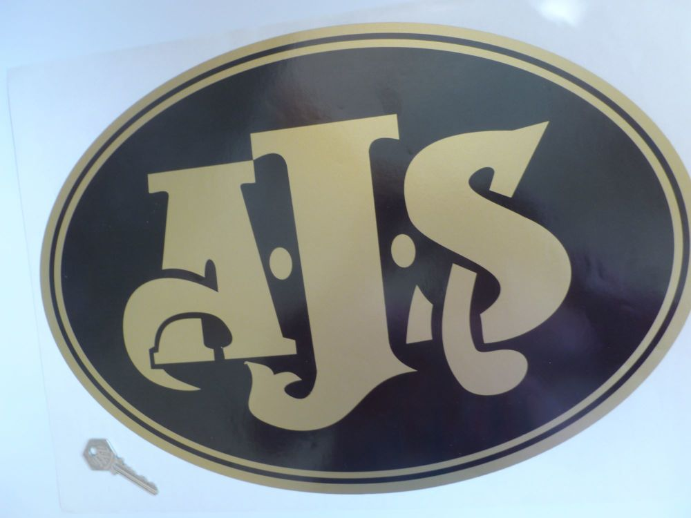 AJS Large Black & Gold Oval Sticker 17