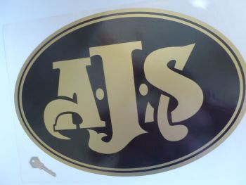 "AJS Large Black & Gold Oval Sticker. 17""."