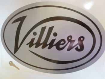 "Villiers Large Black & Silver Oval Sticker. 17""."